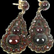 Antique Victorian Rose Large Pristine Gold Filled Bohemian Garnet Ladies Earrings