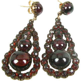 Antique Victorian Rose Large Pristine Gold Filled Bohemian Garnet Ladies Earrings