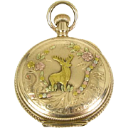 Late 1800's Tri Colored Solid 14k Gold American Waltham 11j Pocket Watch