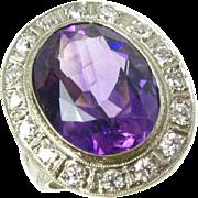 Pristine 18k White Gold Edwardian Amethyst & Diamond Ladies Ring
