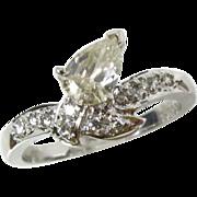 Vintage 18k White Gold Art Deco .50ct Pear Cut Light Canary Diamond Ring