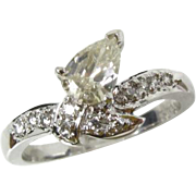Vintage 18k White Gold Art Deco .50ct Pear Cut Light Canary Diamond Ring
