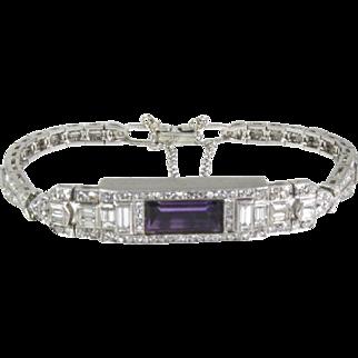 """$12000 Platinum Filigree Amethyst & Diamond Ladies Bracelet 21.1g 6.5""""L eb1398"""