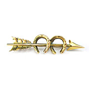 Interesting Antique Victorian 10K Yellow Gold Arrow Horseshoe Pin Brooch