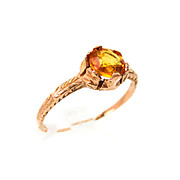 Stunning Antique 10kt Rose Gold 5.5mm Orange Sapphire Ring Size 6.25