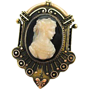 Pristine Condition Antique Victorian Cameo 14kt Pin/Pendant