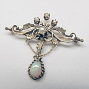 Fine Hand-crafted 14K Yellow Gold, Opal & Pearl Victorian Brooch