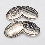 Art Deco Double Sided 14k White Gold Cuff Links