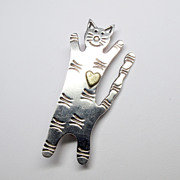 Whimsical Sterling Silver & Brass Cat Pin