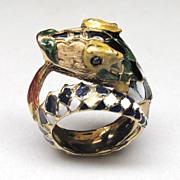 High Profile Beautifully Enameled Italian 18K Yellow Gold Dragon Ring