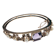 Victorian 10K Yellow Gold Bangle Bracelet with Amethyst and Pearl