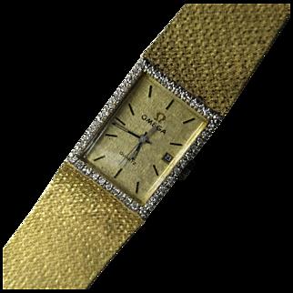 Vintage 14K Yellow Gold Men's Omega Quartz Watch with Diamond Bezel