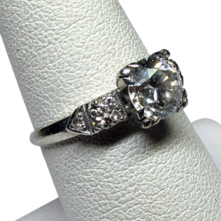 Platinum Engagement Ring with 1.25ct Diamond and Accent Stones