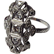 Deco Platinum Ring with Diamond
