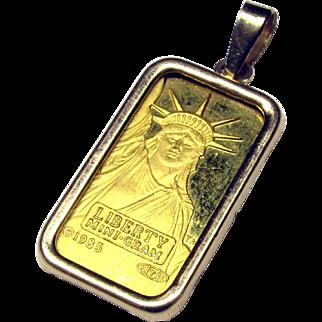 1g Pure 24K Yellow Gold Credit Suisse Liberty Mini-Gram Bullion Bar with 14K Bezel Pendant from 1985
