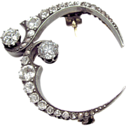 "Unusual Victorian Mourning Sterling Silver over 14K Gold & Diamond Crescent ""Honeymoon"" Brooch"