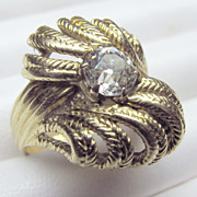 Antique 18K Yellow Gold Art Nouveau Diamond Ring