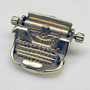 "Vintage Moving 3D 14K Yellow Gold ""Typewriter"" Charm"