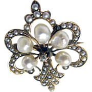 Antique Fleur De Lis 14K Yellow Gold Early Victorian Seed Pearl & Diamond Pin/Watch Holder Brooch