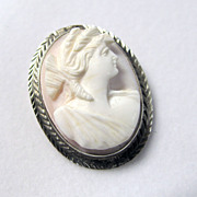 Antique 14K White Gold Victorian Carved Coral Cameo Pin/Pendant