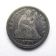 1876P Seated Liberty 90% US Silver Quarter