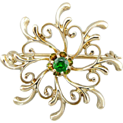 Swirling Upcycled Demantoid Garnet Brooch