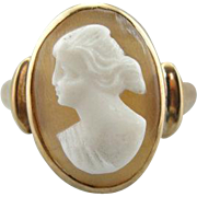 Simple Bezel Set Cameo Cocktail Ring, Perfect Pinky Ring