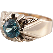 Blue Zircon Men's Ring in Ostby and Barton Mounting