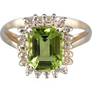 Stunning Peridot and Diamond Halo Ring