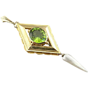 Peridot And Cultured Pearl Pendant From Vintage Brooch