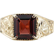 Upcycled Art Deco Carved 14K Gold and Garnet Ring with Surprising Simplicity