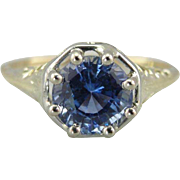 Lovely Filigree Solitaire Ring with Pale Blue Sapphire