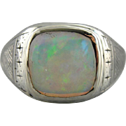 Men's Vintage Opal Statement Ring, Etched 10K White Gold Mens Ring from the 1930s