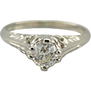 Antique Old Mine Cut Edwardian Diamond Engagement Ring, Tall Filigree 14K White Gold Solitaire with Bright Diamond
