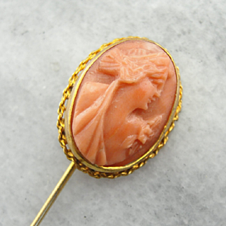 Carved Coral Cameo Stick Pin in Yellow Gold