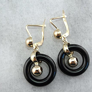 Bold and Tastefully Gothic, Vintage Onyx Drop Earrings