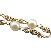 Bridal Bracelet, Pretty White Cultured Pearl and Golden Rope Bracelet