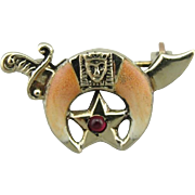 Antique Shriners Masonic Lapel Pin with Ruby Doublet
