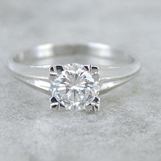 Spectacular Diamond Solitaire Mid-Century Engagement Ring
