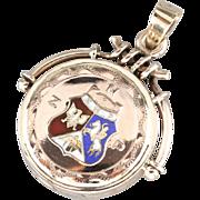 Antique Enameled ZNP Gold Fob Locket, Victorian Diamond Locket, Vintage Symbol of the Polish National Alliance