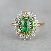 Upcycled Tsavorite Garnet Ring, Mine Cut Diamond Halo, Demantoid Garnets