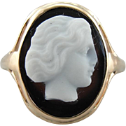 Victorian Hardstone Cameo, Onyx Carved Ring, Subject in Profile, Vintage Oval Cameo Ring