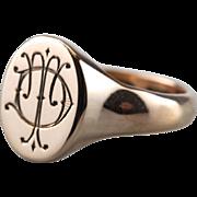 Unusual 15 Carat Rose Gold Signet Ring