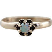 Buttercup Opal, Antique Opal Solitaire Ring in 10K Rose Gold