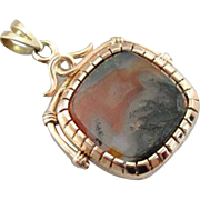 14K Rose Gold Fob Locket with Sardonyx Intaglio and Moss Agate