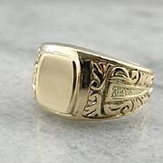 Stunning Signet Ring with Scrolling Motif