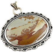 Gorgeous American Jasper Pendant with Antique 10K Gold Accents