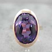 Vintage Synthetic Alexandrite Cocktail Ring in 14K Rose Gold Setting