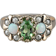 Bright Green Tourmaline Cocktail Ring