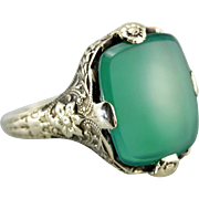 Beautiful Floral Green Onyx Cocktail Ring